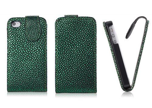 FLIP калъф за iPhone 4G 4S Strassdekor Green