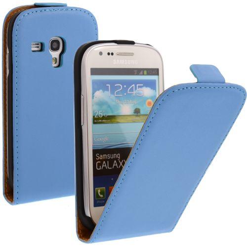 FLIP калъф за Samsung Galaxy S3 mini Естествена кожа Blue