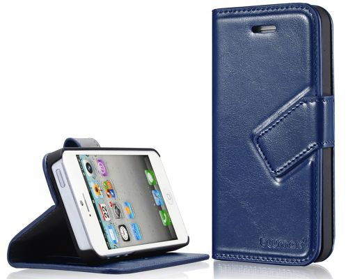 Blumax PU Wallet Bookstyle Case iPhone 5 Blue