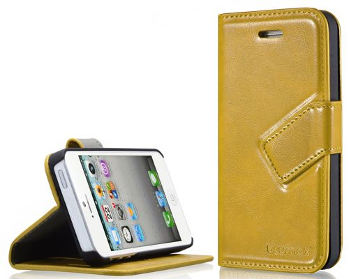 Blumax PU Wallet Bookstyle Case iPhone 5 Yellow