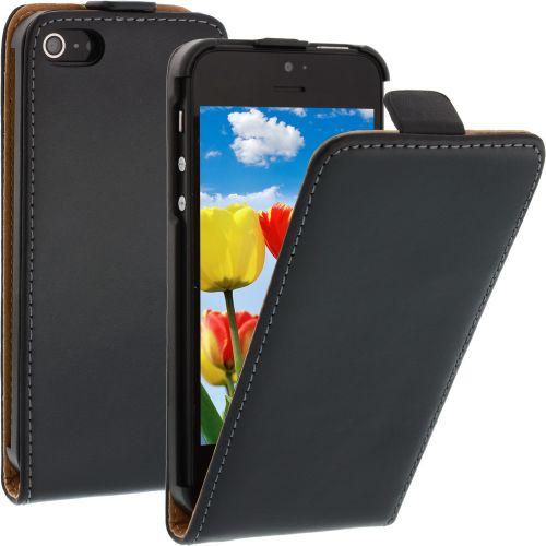 FLIP калъф за iPhone 5 Естествена кожа Black