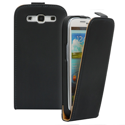 FLIP калъф за Samsung Galaxy S3 i9300 Естествена кожа Black