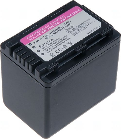 Батерия за видеокамера Panasonic VW-VBK360, VW-VBK360E-K, VW-VBK180, VW-VBK180E-K, VW-VBK180GK, 3440 mAh