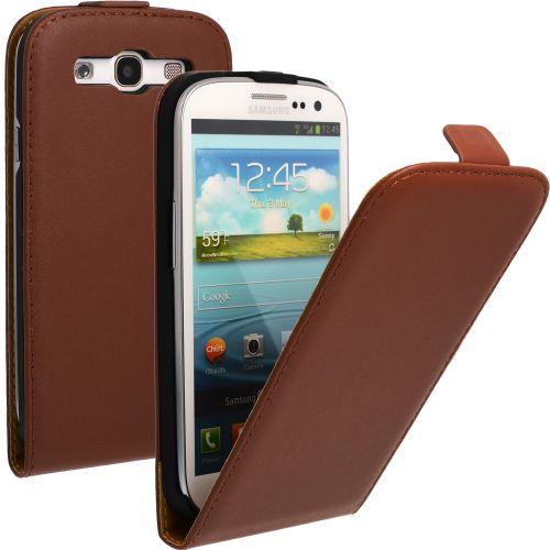 FLIP калъф за Samsung Galaxy S3 i9300 Естествена кожа Brown