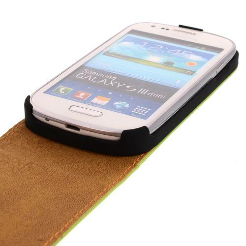 FLIP калъф за Samsung Galaxy S3 mini Естествена кожа Green