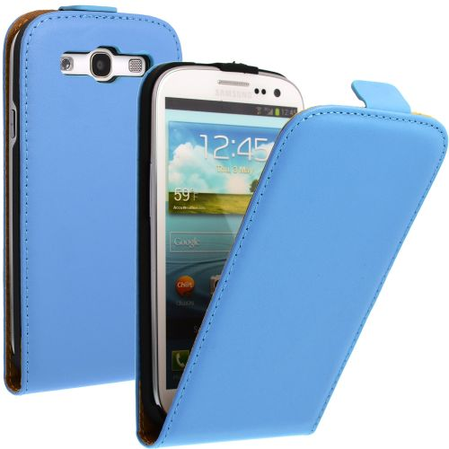 FLIP калъф за Samsung Galaxy S3 i9300 Естествена кожа Blue