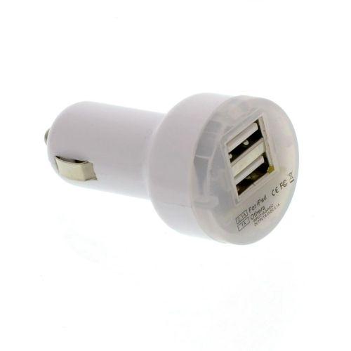 USB адаптор за кола - бял без кабел 5V 2,1A
