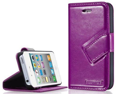 Blumax PU Wallet Bookstyle Case iPhone 4 4S Purple