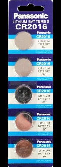 Литиеви батерии CR2016 Panasonic CR2016 - 3V - 5 батерии