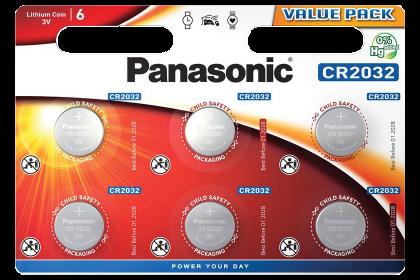 Литиеви батерии CR2032 Panasonic CR2032 - 3V 6 батерии