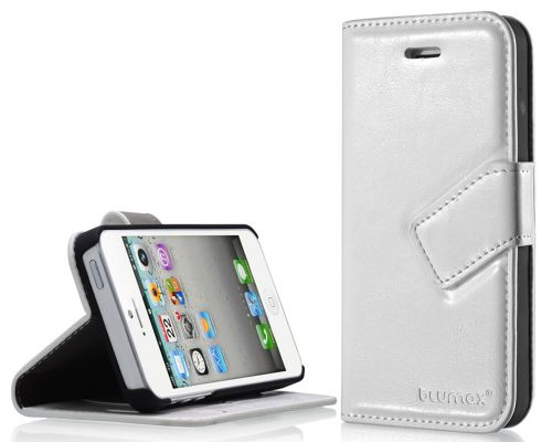 Blumax PU Wallet Bookstyle Case iPhone 5 White