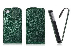 FLIP калъф за iPhone 4G 4S Strassdekor Green