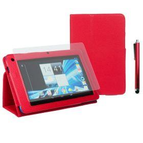 "Kожен кейс за таблет Acer B1-710/A71 7"" Stylus Red+SP+Pen"