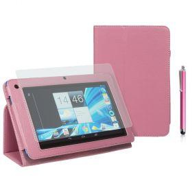 "Kожен кейс за таблет  Acer B1-710/A71 7"" Stylus Pink+SP+Pen"