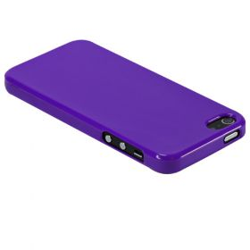Silicon Case for iPhone 5 Purple+Display Protection