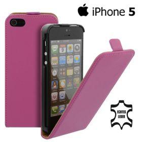 FLIP калъф за iPhone 5 Естествена кожа Hotpink