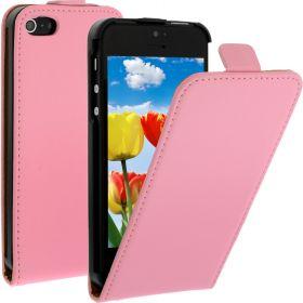 FLIP калъф за iPhone 5 Естествена кожа Pink