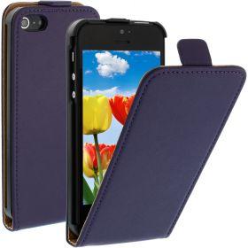 FLIP калъф за iPhone 5 Естествена кожа Purple