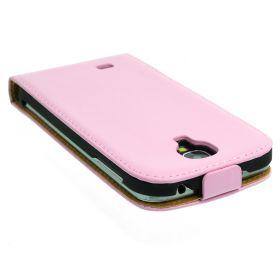FLIP калъф за Samsung Galaxy S4 i9500 Естествена кожа Pink