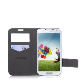 Blumax PU Wallet Booksytle Case with Window S4 White