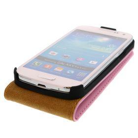 FLIP калъф за Samsung Galaxy S4 mini Естествена кожа Pink