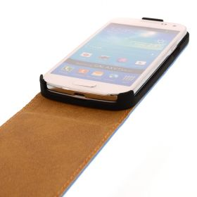 FLIP калъф за Samsung Galaxy S4 mini Естествена кожа Blue