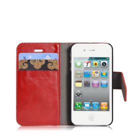 Blumax PU Wallet Bookstyle Case iPhone 4 4S Red