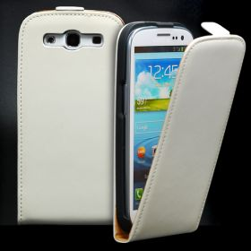 FLIP калъф за Samsung Galaxy S3 i9300 Естествена кожа White