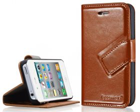 Blumax PU Wallet Bookstyle Case iPhone 4 4S Brown