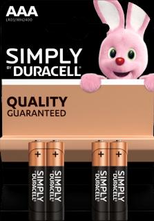 Алкални батерии AAA Duracell Simply MN2400 AAA - 4 броя