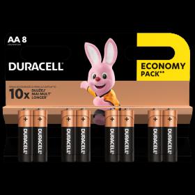 Алкални батерии АА Duracell Basic MN1500 AA - 8 броя