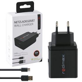 Зарядно за телефон от 220V към USB-A 3.0A + Micro USB кабел