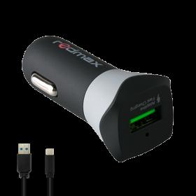 Мини USB адаптер за кола 2.4A + USB кабел Type C